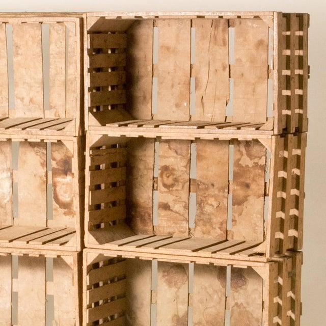 Bookcase Made Out of 12 Wooden Crates From Early 20th Century France For Sale - Image 4 of 6
