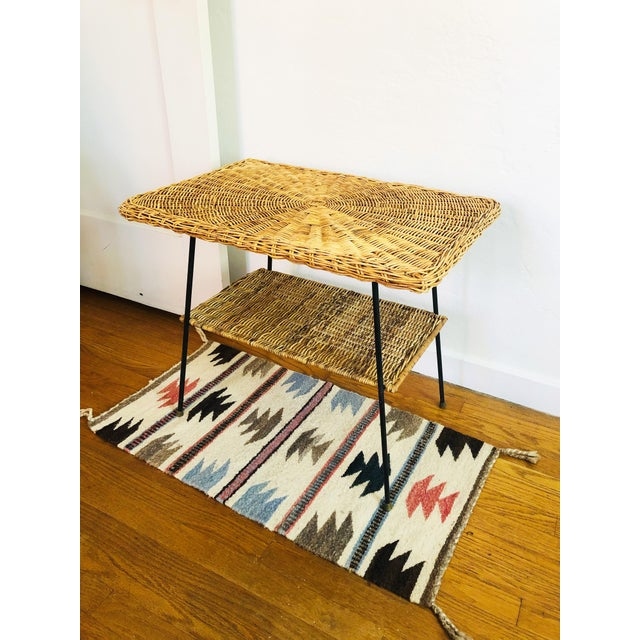 Boho Chic Mid Century Rectangular Wicker Side Table on Iron Frame For Sale - Image 3 of 11