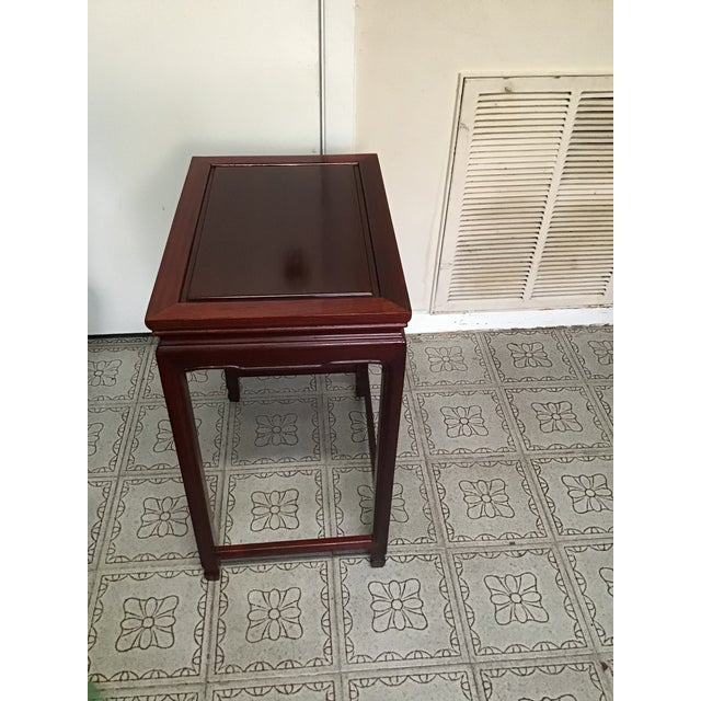 Glass 1900s Chinese Mahogany Handmade Side Table For Sale - Image 7 of 12