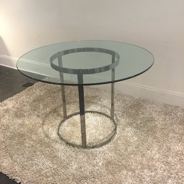 "Stunning 42""Glass to Chrome Base Table designed by Milo Baughman for DIA. Glass thickness 1/2"". Clean Modern Design works..."