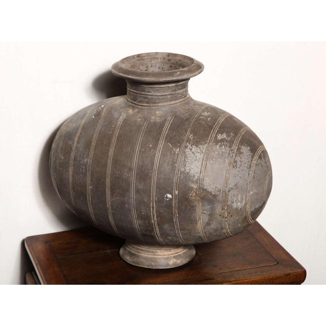 Clay Western Han Dynasty Terracotta Cocoon Jar with Incised Bands from China For Sale - Image 7 of 8