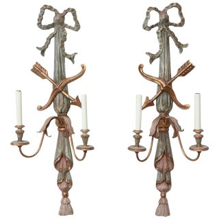Pair of Italian Polychromed Wood Classical Form Wall Sconces For Sale