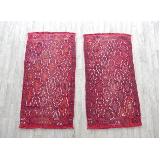 Raspberry Red Pair Vintage Turkish Kilim Rug 1′8″ × 3′3″ For Sale - Image 8 of 8