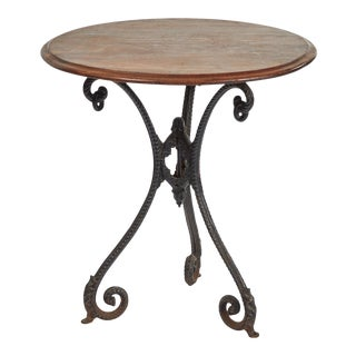 19th Century French Iron Table with Mahogany Top For Sale