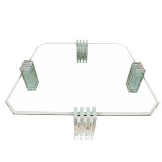 Spectacular Mid-Century Glass and Lucite Cocktail Table For Sale