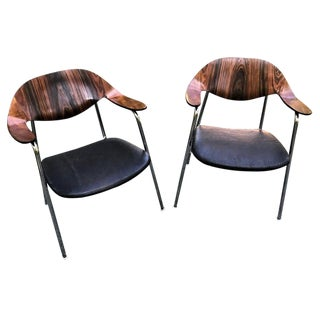 1960s Vintage Rosewood and Walnut Plycraft Bentwood Chrome Tube Chairs- A Pair For Sale