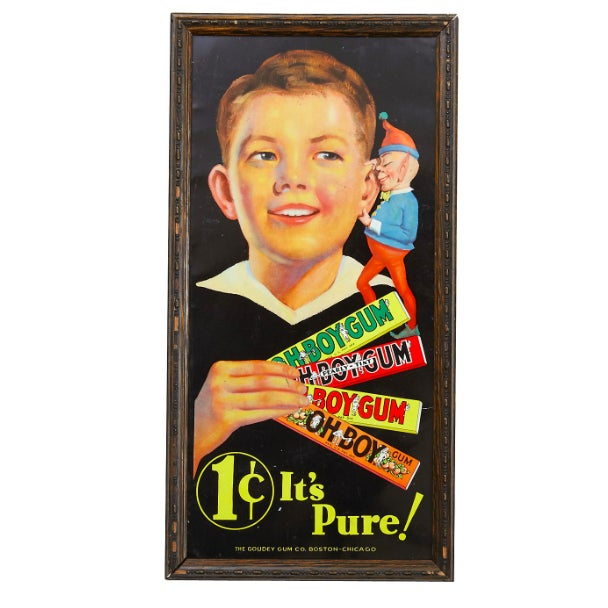 """1930s Tin Lithograph """"Oh Boy"""" Gum Sign - Image 1 of 2"""