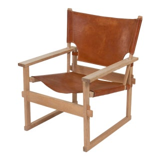 1960s Vintage Kai Winding for Hundevad Leather Sling Lounge Chair For Sale