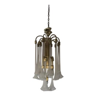 Italian Murano Blown Glass Lily Glass Chandelier