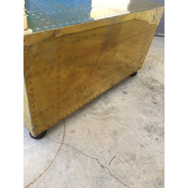 Sarreid LTD Brass Two-Drawer Coffee Table For Sale In Charlotte - Image 6 of 8