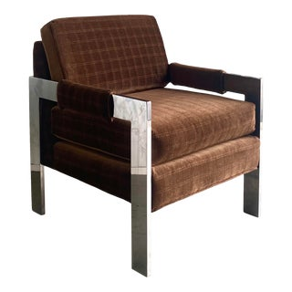 MidCentury Flat Bar Chrome Lounge Chair After Milo Baughman For Sale