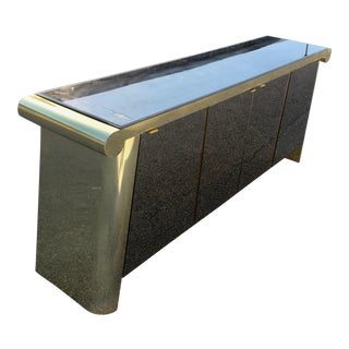 1970s Art Deco Ello Brass and Tinted Glass Floating Scroll Credenza For Sale