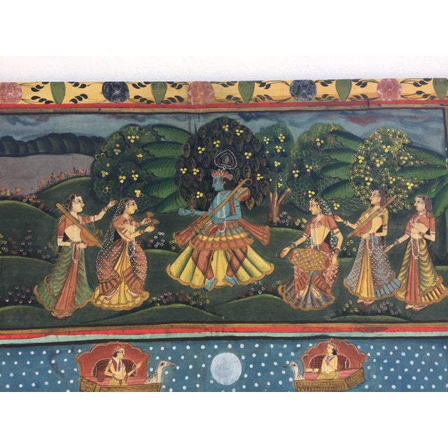Large Colorful Pichhavai Silk Asian Painting With Krishna and Female Gopis For Sale - Image 4 of 11