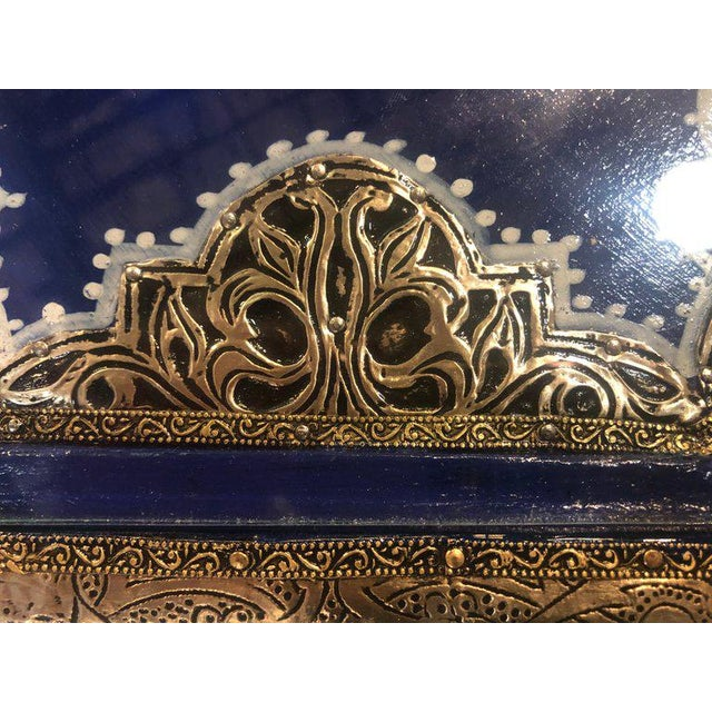 Moroccan Silver Metal Brass Inlaid Side Tables - a Pair For Sale - Image 12 of 13