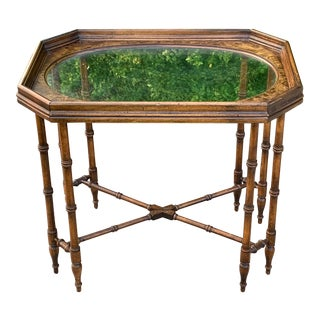Chinoiserie Faux Bamboo Side Table For Sale