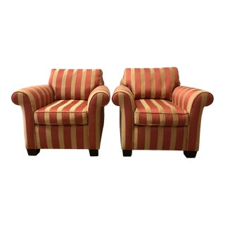 Custom Upholstered Stripe Rolled Chairs- a Pair For Sale