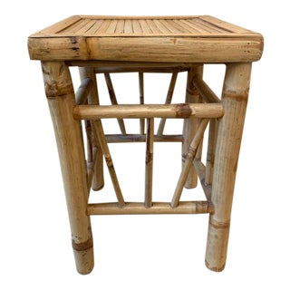 Bamboo Rattan Side Table, Drinks Table For Sale