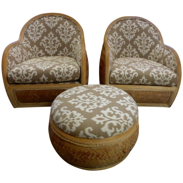 Mid Century Rattan Chairs & Ottoman - A Pair - Image 1 of 8