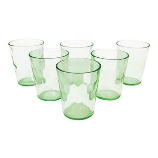 Vintage Pale Green Shot Glasses - Set of 6