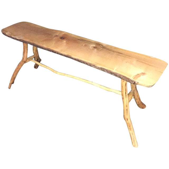 Handmade Rustic Natural Pine Bench - Image 1 of 7