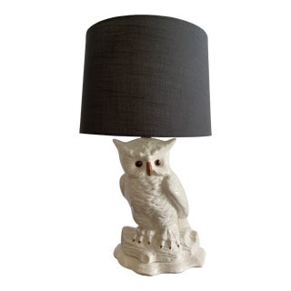 Mid Century Modern Ceramic Owl Lamp With Shade For Sale