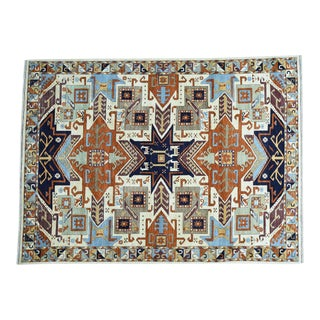 Hand Knotted Geometric Design Kazak Pure Wool Rug For Sale