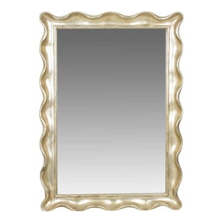 Silver-Toned Scalloped Wooden Wall Mirror For Sale