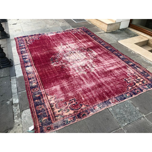 This is a Turkish handwoven vintage Anatolian OUSHAK rug. We collect antique rugs from Anatolia, which is the Eastern part...