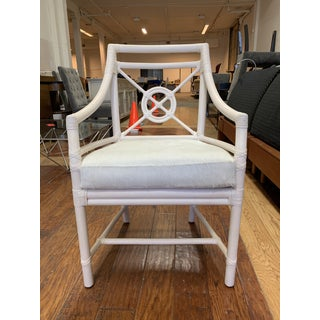 McGuire White Target Back Rattan Chair + Horse Hide Cushion Preview