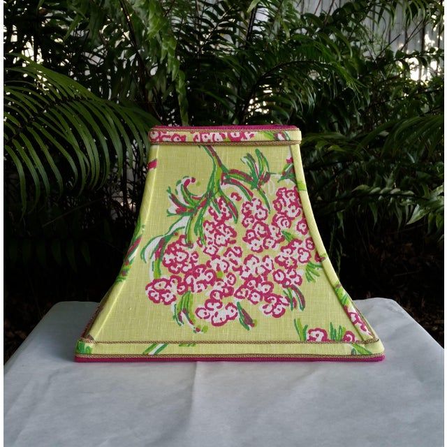 Lilly Pulitzer Fabric Lampshade Hot Pink Green Tropical Floral For Sale - Image 10 of 10