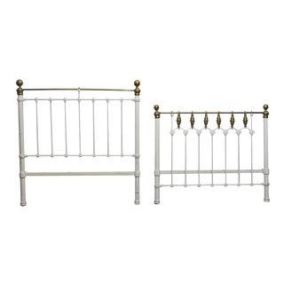 White Brass Full Size Bed Frame Set For Sale