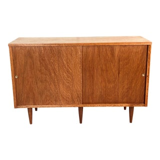 1960s Walnut Slide Front Storage Cabinet For Sale