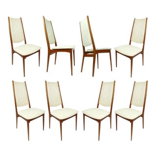 Set of 8 High Back Danish Teak Dining Chairs in Cream Color Fabric For Sale