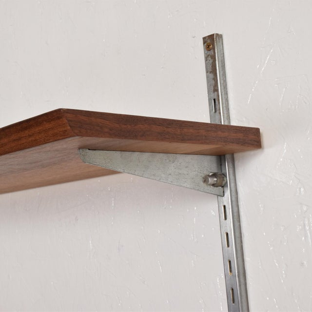 Mid-Century Modern Eames Era Walnut & Aluminum Bookcase Shelving Wall Unit For Sale - Image 4 of 10