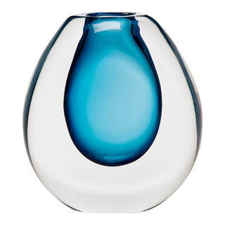 Tall Sommerso Style Blue Art Glass Vase For Sale