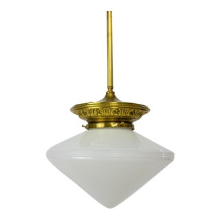 Early 20th Century Pendant Fixture with White Conical Glass For Sale