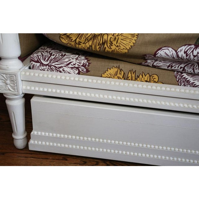 Brown Modern Ornately Wood Carved Custom Botanical Print Upholstery Day Bed For Sale - Image 8 of 12