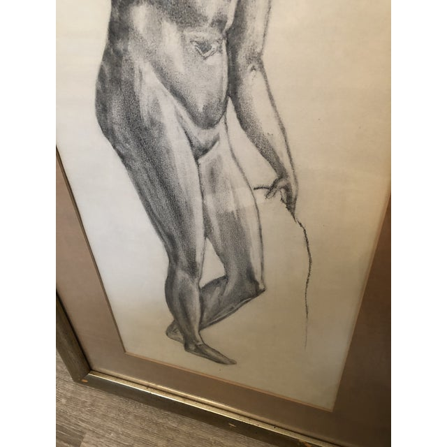 1980s Greek Goddess Nude Pencil Sketch, Framed For Sale In New York - Image 6 of 10