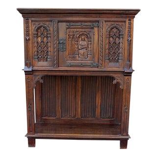 Antique French Oak 19th Century Gothic Sacristy Vestry Altar Wine Cabinet For Sale