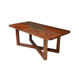 Gabriella Crespi Style Rectangular Dining Table in Rattan - 1970s For Sale