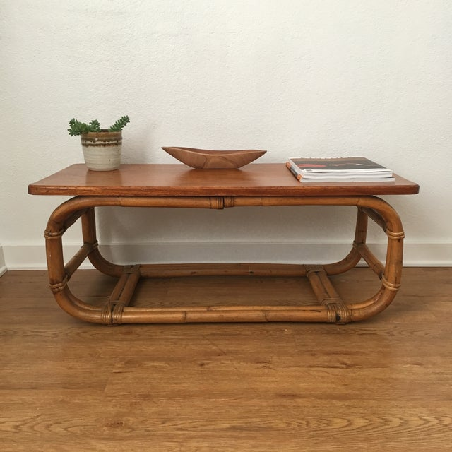 Boho Chic Vintage Koa Wood & Rattan Coffee Table For Sale - Image 3 of 11