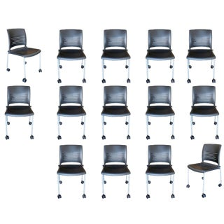 Giancarlo Piretti Rolling Side Desk Chair by Strive, Set of 14 For Sale