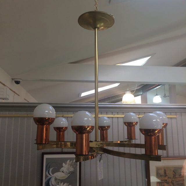 Mid-Century Modern Modernist Brass & Copper Rare Chandelier For Sale - Image 3 of 6
