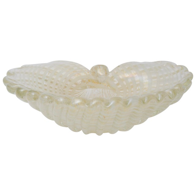 White Large Scale Clam Shell Murano Glass Dish by Barovier E Toso For Sale - Image 8 of 8
