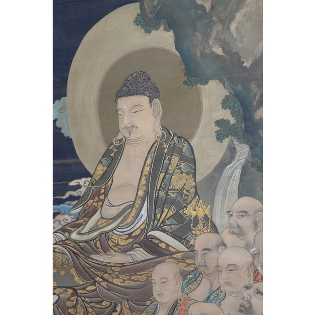 Asian Antique Japanese Hanging Scroll With Buddha and His Disciples C.1910 For Sale - Image 3 of 12