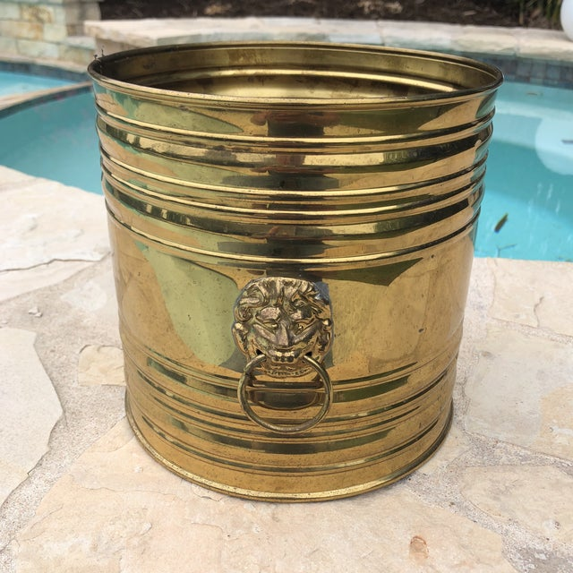 Vintage English Brass Dual Lions Head Planter For Sale - Image 4 of 10