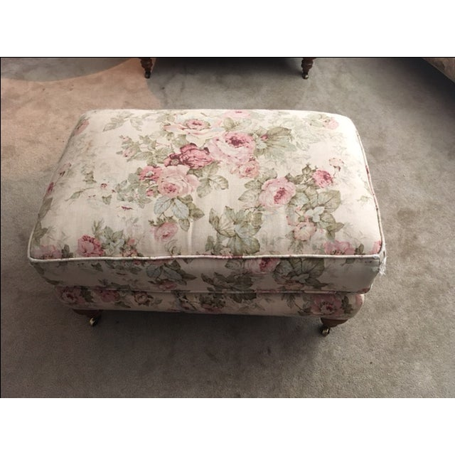 Lee Industries English Style Armchair & Ottoman For Sale - Image 5 of 11