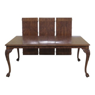 1980s Traditional Karges Ball & Claw Walnut Dining Room Table For Sale