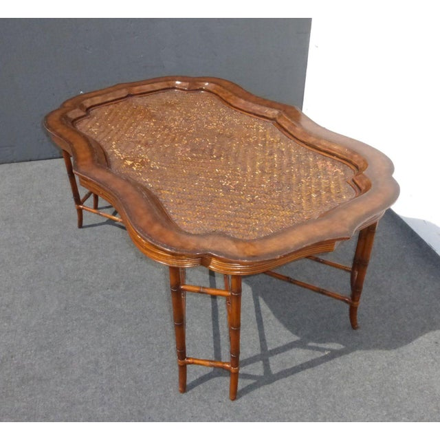 Maitland-Smith Rattan & Leather Coffee Table - Image 5 of 11