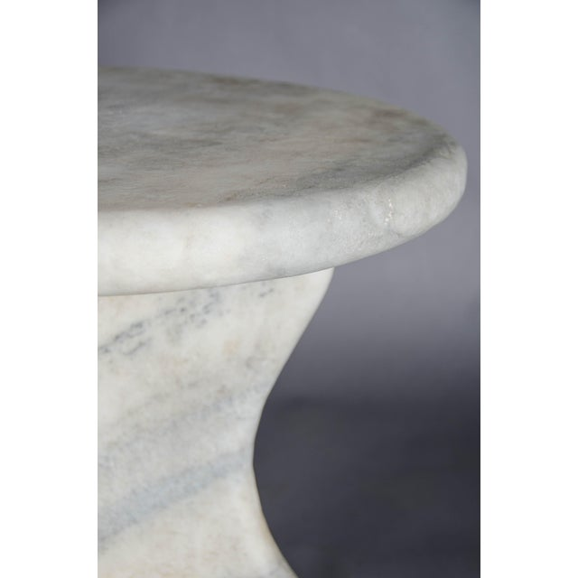Robert Kuo Mallet Design Table - Han Bai Yu (White Marble) For Sale - Image 4 of 5